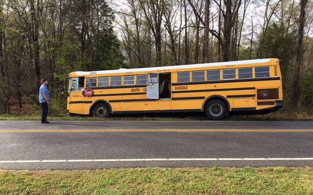 Bus slid off roadway (Apr. 3, 2017/FOX Carolina)