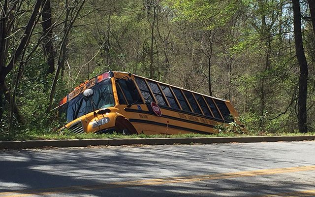 Bus involved in Greenville crash. (Apr. 4, 2017/FOX Carolina)