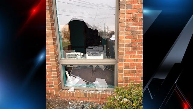Windows broken in at one of the doctors' offices. (April 4, 2017 FOX Carolina)