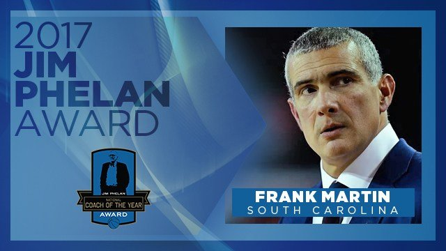 Gamecocks Coach Frank Martin wins 2017 Coach of the Year Award. (Source: jimphelanaward.com)