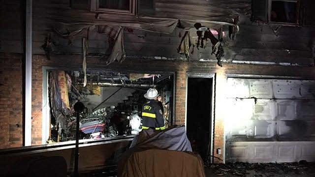Garage damaged in house fire. (April 4, 2017 FOX Carolina)