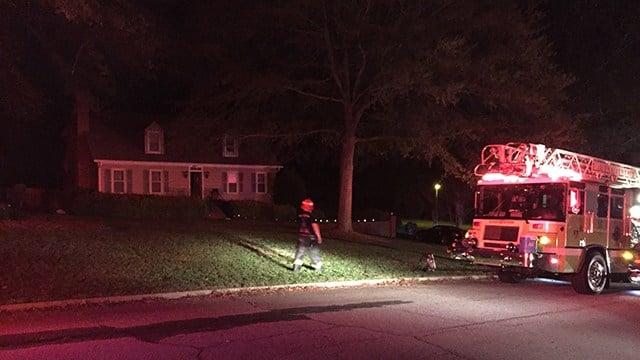 Scene of house fire on Woodwind Drive. (April 4, 2017 FOX Carolina)
