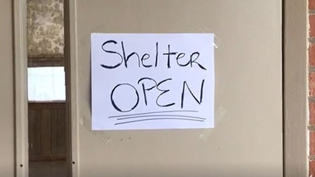 Shelter open sign (Apr. 5, 2017/FOX Carolina)