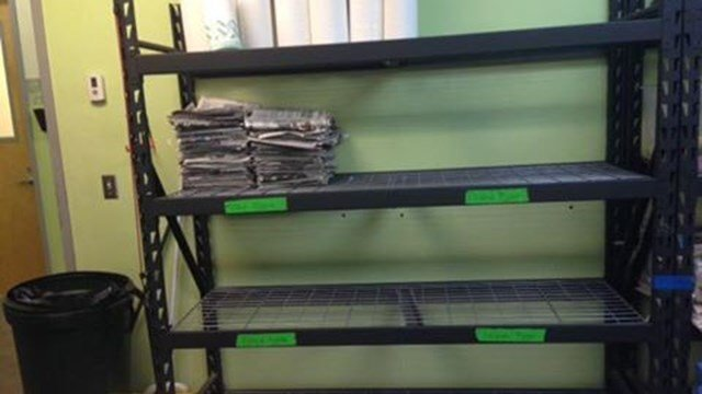 The last of the newspaper supply at Greenville Humane Society. (Source: Greenville Humane Society)