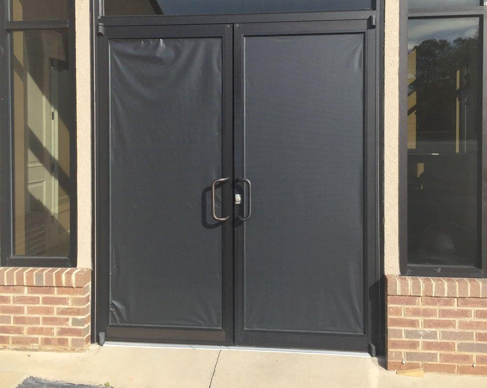 Windows covered after vandalism at Freewill Baptist Church. (Apr. 7, 2017/FOX Carolina)