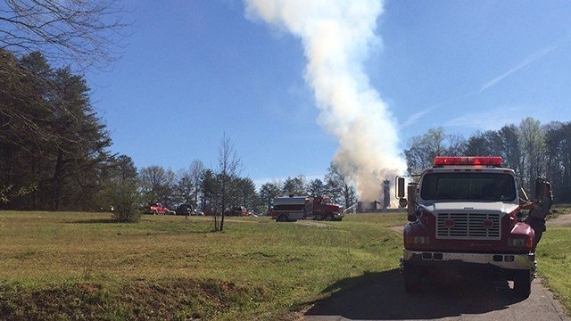 Scene of fire on Pace Bridge Road. (April 9, 2017 FOX Carolina)