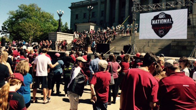Fans gathering for start of parade at City Hall. (April 9, 2017 FOX Carolina)