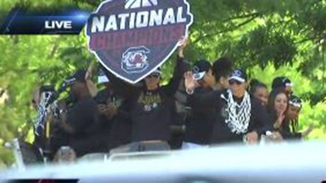 "Coach Dawn Staley and the Gamecock champions ""float"" through the National Championship Parade Sunday. (April 9, 2017 FOX Carolina)"