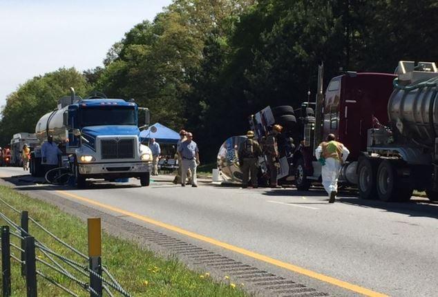 Crews continue to clean up the crash site on I-85 (FOX Carolina/ April 10, 2017)