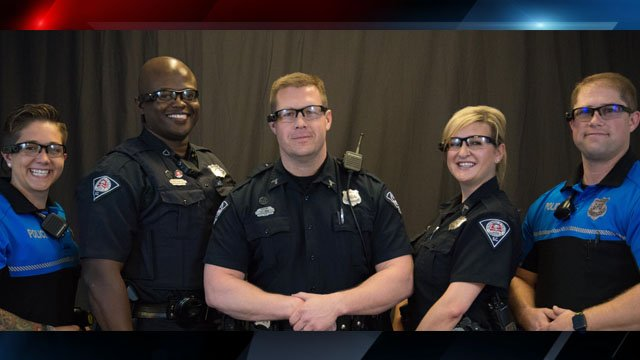 Greenville PD officers wearing the new body cameras (Courtesy: GPD)