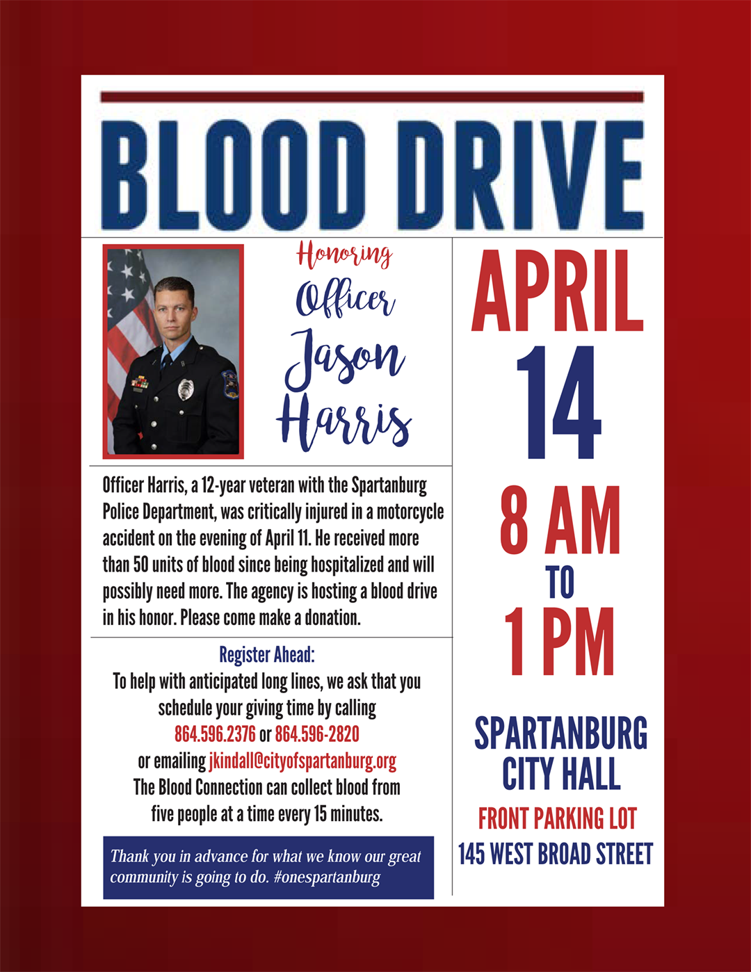 Blood drive announced for Spartanburg officer injured in motorcycle crash. (4/12/17)