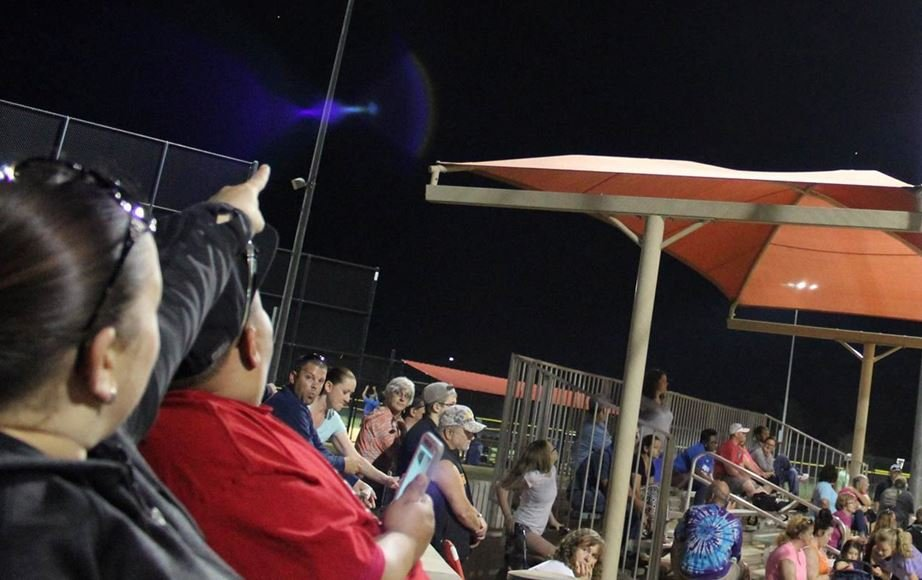 Viewer photo of people reacting to the fireball at an Upstate ballfield (Viewer submitted photo)