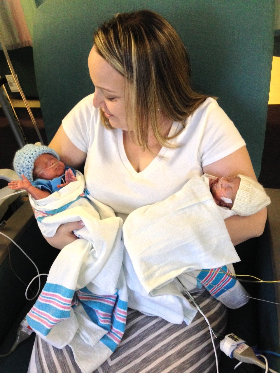 Cathy Rodriguez on her first Mother's Day in 2014 holding premature twins, Marcos and Mateo (Courtesy: Cathy Rodriguez).