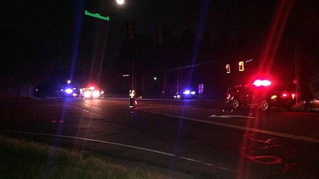 Scene on Dobbins Bridge Road and Michelin Blvd after crash. (April 15, 2017 FOX Carolina)