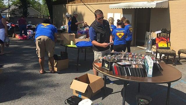 Yard sale hosted by Carolina Family Services. (April 15, 2017 FOX Carolina)