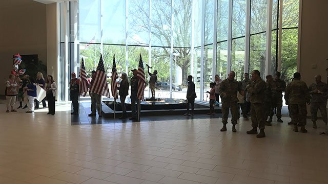 Loved ones welcome home soldiers at GSP. (FOX Carolina/ 4/15/17)