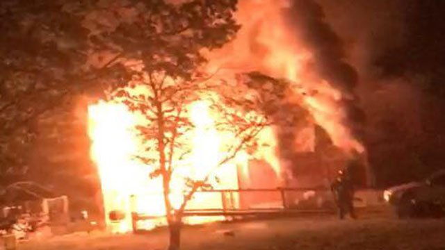 Structure engulfed in flames (Source: Townville Volunteer Fire)