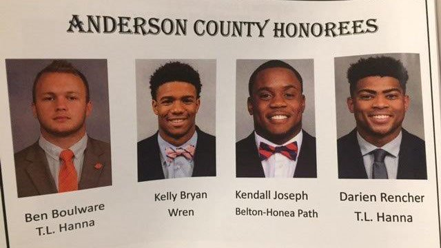 Ben Boulware, Kelly Bryant, Kendall Joseph and Darien Rencher all received the Key to the City of Anderson, S.C. at an awards banquet on Wednesday. (FOX Carolina/ 4/19/17)