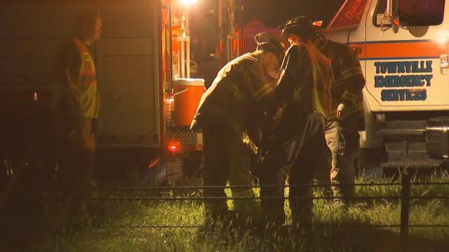 Firefighters confer at the scene  (FOX Carolina/ April 20, 2017)