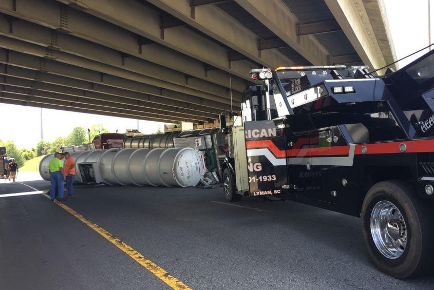 Photo of the overturned tanker (FOX Carolina/ April 21, 2017)