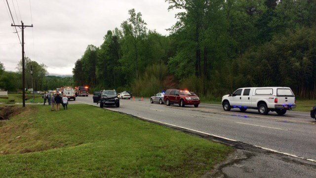 Scene of collision on US 25 in Greenville. (4/23/17 FOX Carolina)