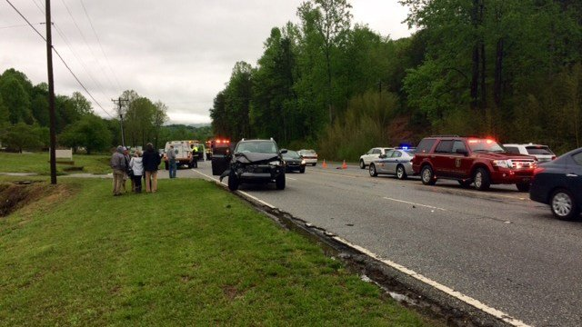 Scene of collision on US 25 in Greenville. (4/23/17 FOX Carolina)