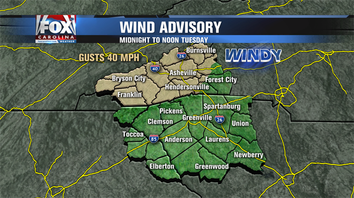 Area under wind advisory until 7 pm