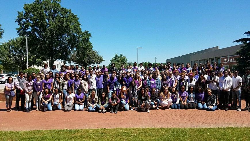 Students wear purple to honor Makiya Hawkins (Source: Greenville County Schools)