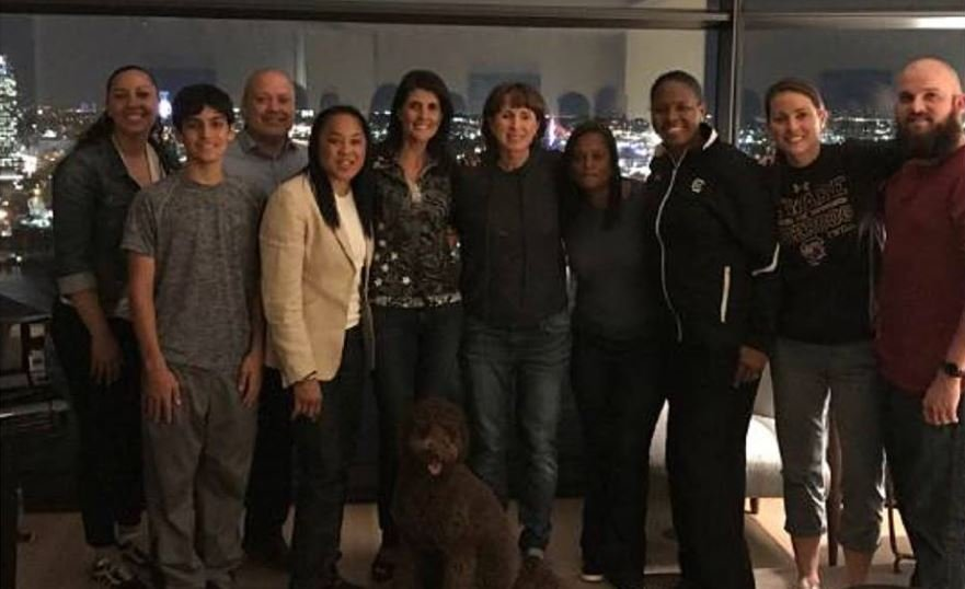 Nikki Haley with Dawn Staley and coaching team (Source: Facebook)