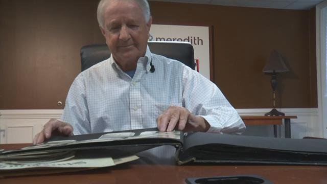 Gary Hughey with his cousin's documents (May 18, 2017/FOX Carolina)