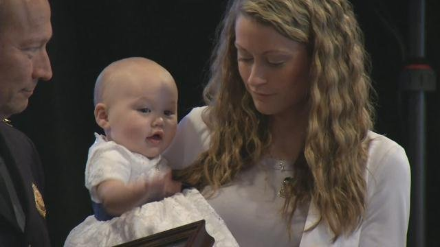 Meghan Jacobs and baby Lennox at awards ceremony (May 19, 2017/FOX Carolina)