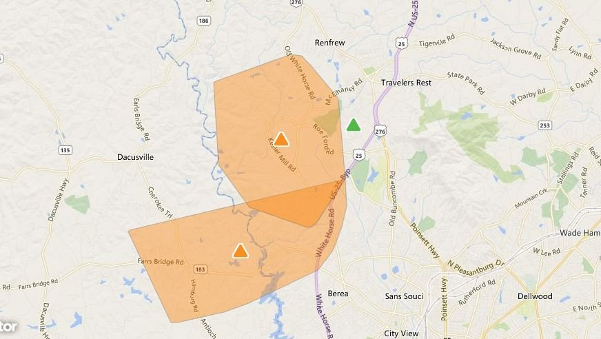 Duke Energy outage map shows more than 3,000 customers without power in Greenville Co. (Source: Duke Energy )