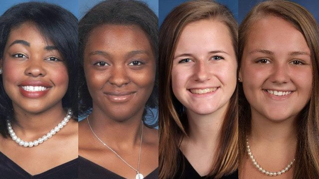 From left:Hillcrest High's Malenah Lewis and Jakhaya Sullivan, JL Mann's Kendall Bayne, and Travelers Rest High's Emily Leopard (Greenville Co. Schools)