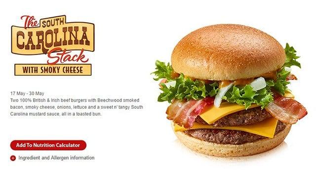 The South Carolina Stack (Source: McDonald's UK website)