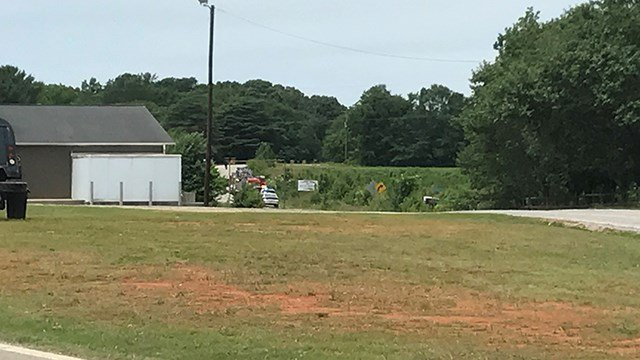 Scene of reported collision on John Dodd Road. (5/28/17 FOX Carolina)