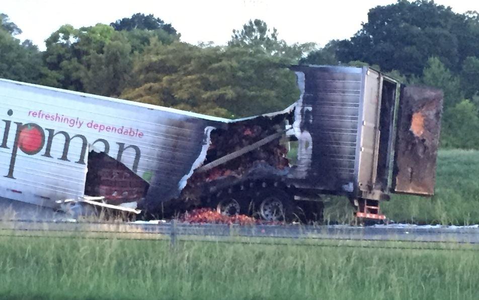 Burned tractor trailer on Business 85 (5/29/17 FOX Carolina)