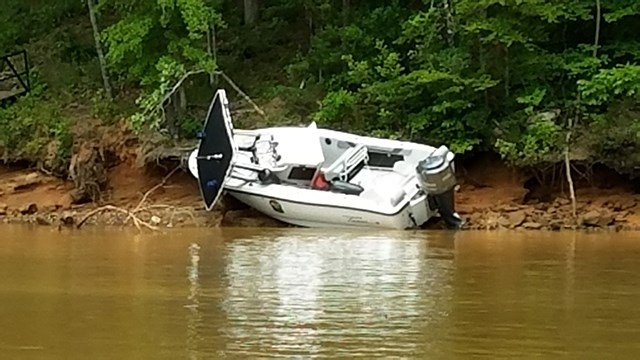 Scene from boat accident on Lake Keowee. (Source: Witness)