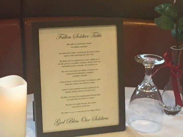 Fallen soldier table at Chesnee McDonalds (5/29/17 FOX Carolina)
