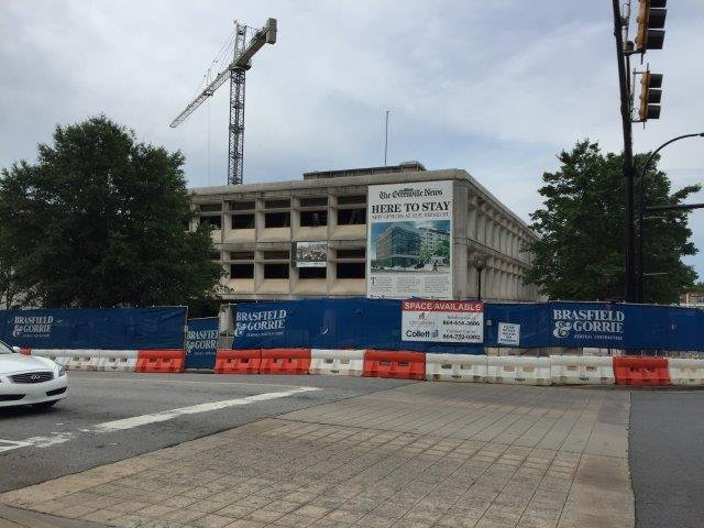 Demolition underway at Greenville News building (May 30/ 2017/ FOX Carolina)