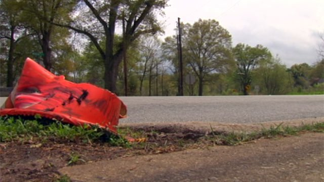 The area along Woodside Drive where troopers say the hit-and-run crash happened on Sunday. (Apr. 15, 2013/FOX Carolina)