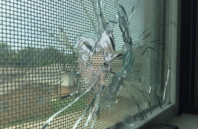 The shattered window in the child's room (FOX Carolina/ May 31, 2017)