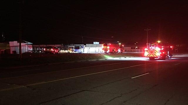 Scene of storage unit fire on Asheville Hwy. (FOX Carolina/ 6/1/17)