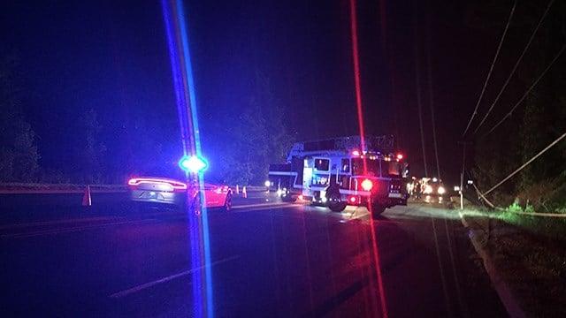 Scene of crash, car fire on Augusta Road. (FOX Carolina/ 6/2/17)