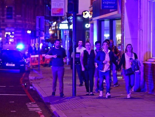 "Street as police are dealing with a ""major incident"" at London Bridge in London, Saturday, June 3, 2017. (Dominic Lipinski/PA via AP)"