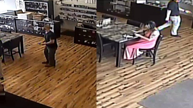 Police: Two persons of interest  captured on camera at Madvapes. (Source: Easley PD)