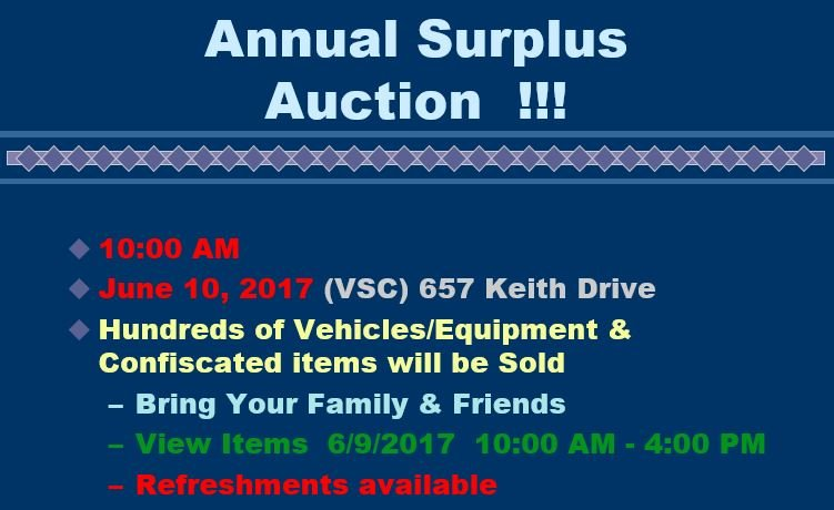Surplus auction (Source: Greenville Co. Fleet Services)