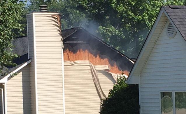 Fire on James Road in Greer (FOX Carolina/ June 8, 2017)