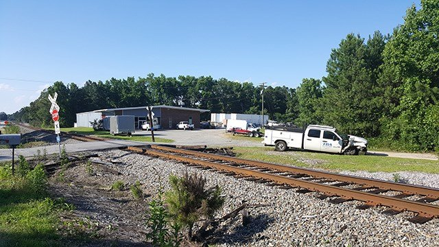 Scene of truck vs. train crash in Union (Source: David Berry)