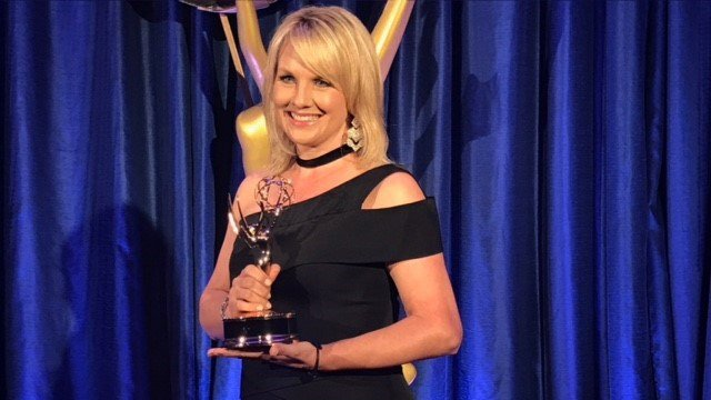 """Diana Watson accepting NATAS Southeast Emmy for """"On Camera Talent-Anchor-News""""."""