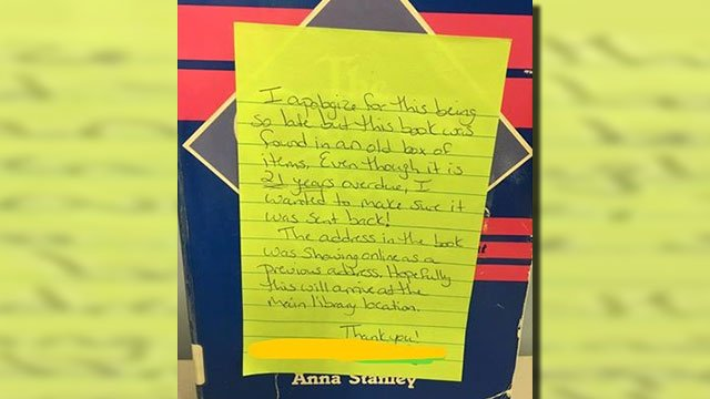 Book returned to library after 21 years (Source: Facebook)